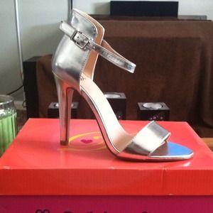 Silver Ankle Strap Heel