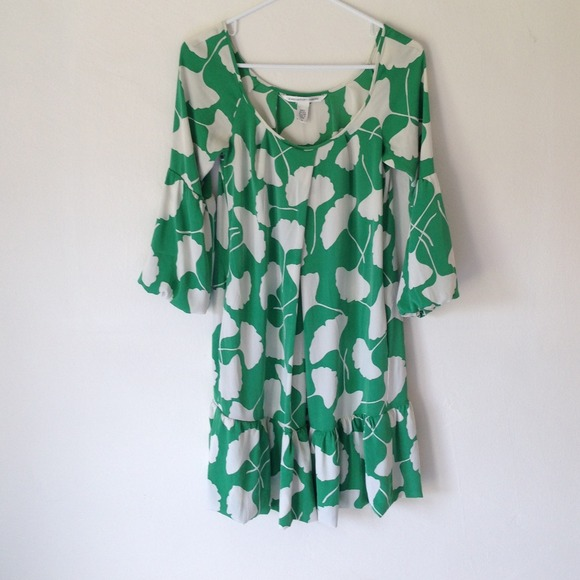 Diane von Furstenberg Dresses & Skirts - DIANE vonFURSTENBERG Green & White Dress