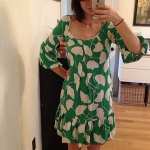 Diane von Furstenberg Dresses - DIANE vonFURSTENBERG Green & White Dress