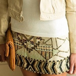 All saints sequins aztec mini skirt 4