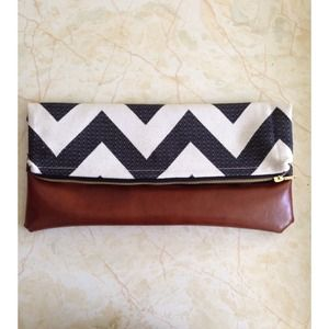 Bags - Large Handmade Chevron & Faux Leather Clutch