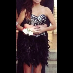 REDUCED! Feather Short Homecoming/ Prom Dress 
