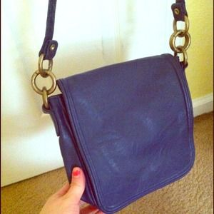 Blue cross body flap purse