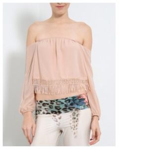 Tops - NEW Strapless & Off The Shoulder Nude Chiffon Top