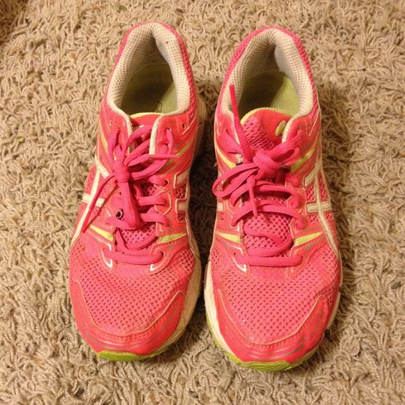 74 asics shoes neon pink and green asics running
