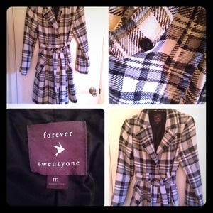 Forever 21 black and white plaid trench coat
