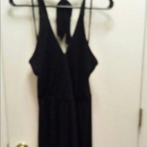 Black halter cotton dress