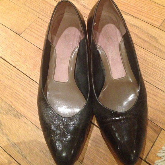 black leather 1 2 inch wedge heel 8 5 from debbie s closet