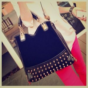 Handbags - NEW Faux Black Leather Shopper Bag + Rivets