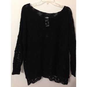 LF Sweaters - OFFERS! LF Black Sweater with Black Lace Hem