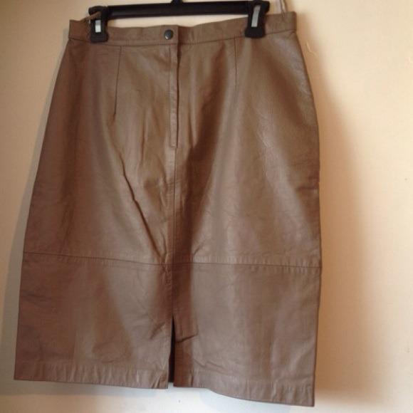 Comit - Taupe Leather Skirt from Nala's closet on Poshmark