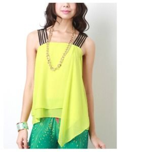 Tops - Sunshine Yellow Top + Layered Asymmetrical Hem