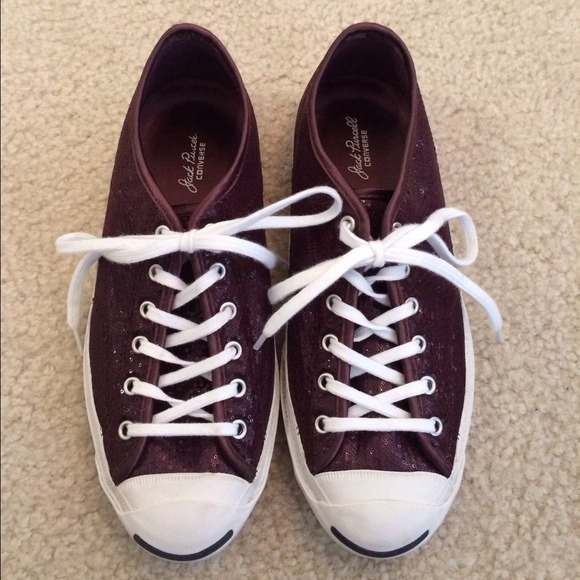Burgundy Sequin Converse Jack Purcell