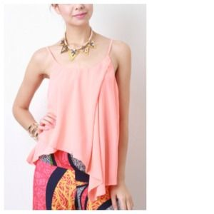Tops - Peach Asymmetrical Chiffon Top + Waterfall Pleat