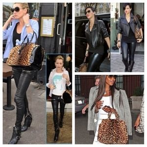 Handbags - NEW Faux Leopard & Leather Leather Tote Bag