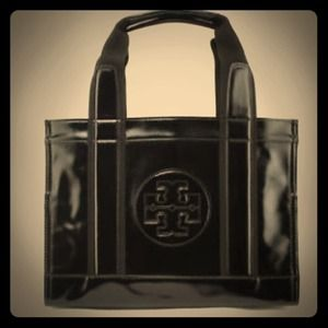 Tory Burch authentic  black leather patent tote