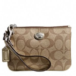 Coach wristlet brown leather