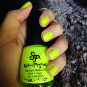 Neon highlighter yellow nail polish