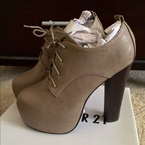 Taupe Lace Up Heeled Booties