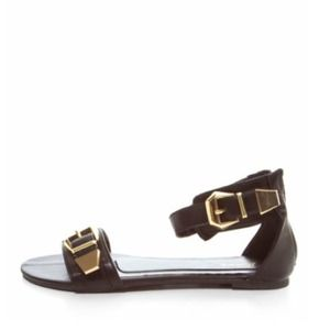 Shoes - Black Buckle Ankle Strap Sandals