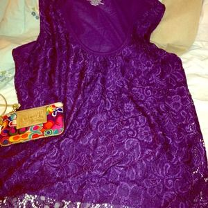 New York & company Tops - Lacey purple tank top