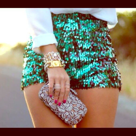 Green Sequin High Waisted Shorts