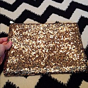 Handbags - Gold glitter clutch