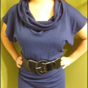 Navy color dress with belt