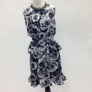 Rose Print Peplum Dress