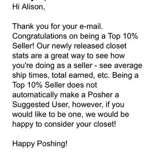 I am a top 10% seller in all of Poshmark!