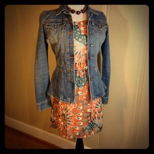 Orange & turquoise peacock feather print dress