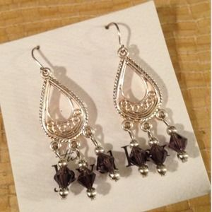 Smoked crystal chandelier earrings. NEW
