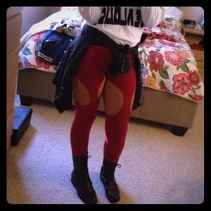 Pants - Red cutout leggings