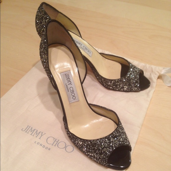 Jimmy Choo Shoes - JIMMY CHOO Black Glitter Peep Toe