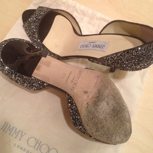 Jimmy Choo Shoes - JIMMY CHOO Black Glitter Peep Toe 2