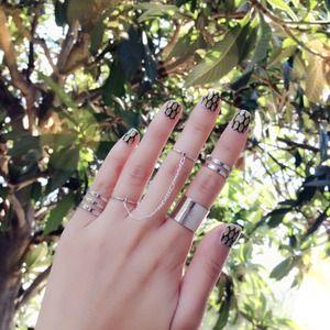 Jewelry - Silver Cuff, Triple, Double Barrel Midi Rings