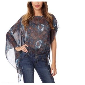 Tops - Boho Chic Paisley Asymmetrical Sleeve Chiffon Top