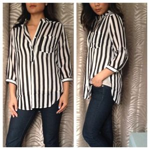 Oversized Black & White Striped Blouse