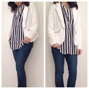 White & Black Piped Blazer