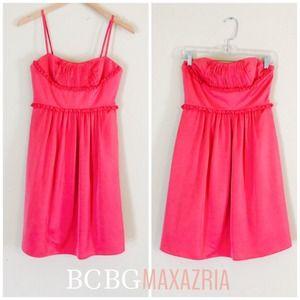 BCBG Coral Pink Silk Satin Look Formal Dress Sz 2
