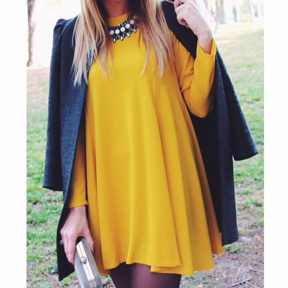 Zara - Yellow Long-Sleeve Mini Dress from * riavianna's ...