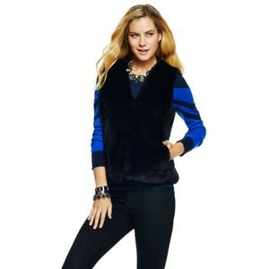 C Wonder Faux Fur Vest in Black