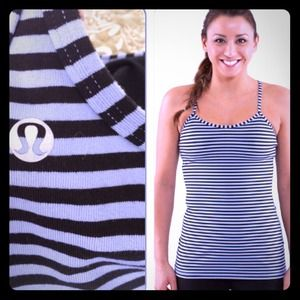 Lululemon baby blue and black stripe power y tank