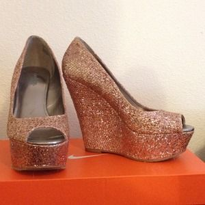 Baby Pink Glitter Wedges