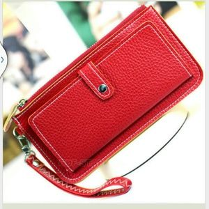 Red faux leather wallet clutch nwot