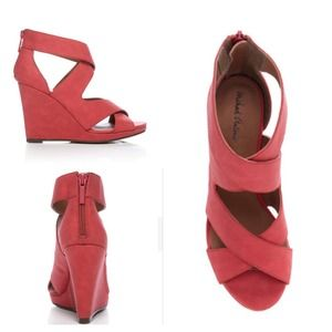 Gorgeous strappy coral wedges