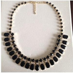 Black crystal and grey thread statement necklace