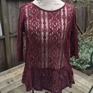 Anthropologie Lace Peplum Top