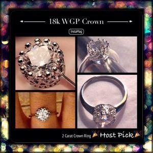 Jewelry - Final💲🎉HP🎉👸18k WGP 2 Carat CZ Crown Ring