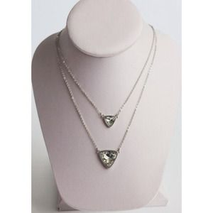 Silver Duo Triangle Necklace